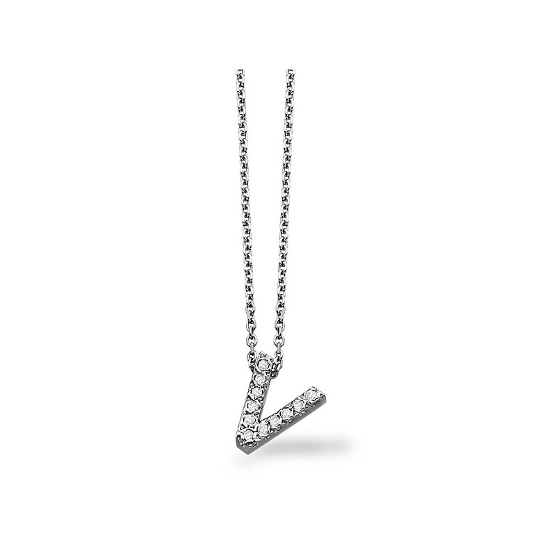 "KC Designs Diamond Block Initial ""V"" Necklace in 14k White Gold with 11 Diamonds weighing .08ct tw."