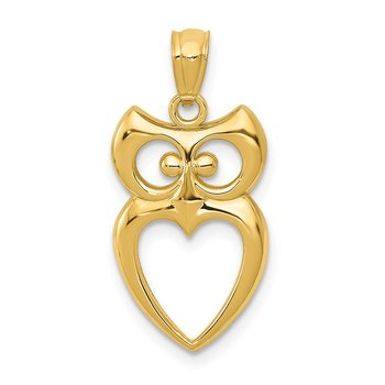 14k Gold Polished Cut-out Owl Pendant
