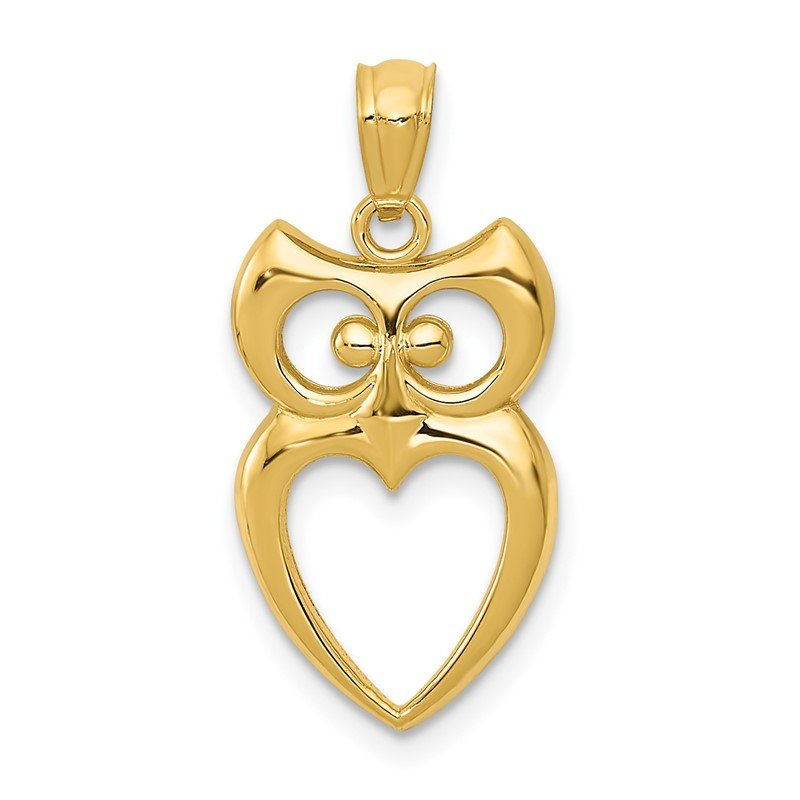 Quality Gold 14k Gold Polished Cut-out Owl Pendant