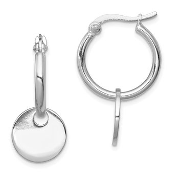 Sterling Silver Round Disc Dangle Hoop Earrings