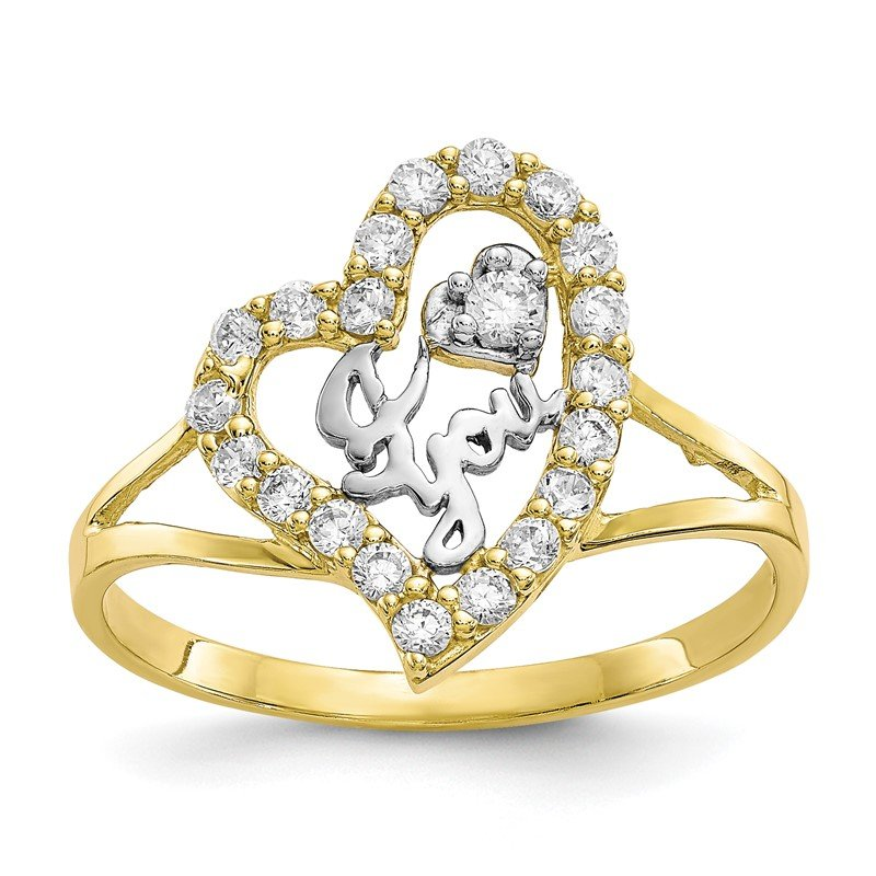 Quality Gold 10K w/White Rhodium I LOVE YOU CZ Heart Ring