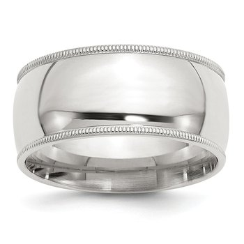 Sterling Silver 10mm Milgrain Comfort Fit Band