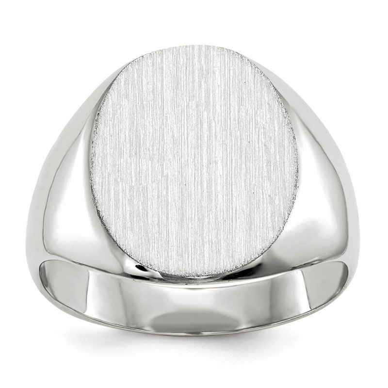Quality Gold 14k White Gold 13.5x12.5mm Closed Back Signet Ring