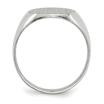 14k White Gold 13.5x12.5mm Closed Back Signet Ring