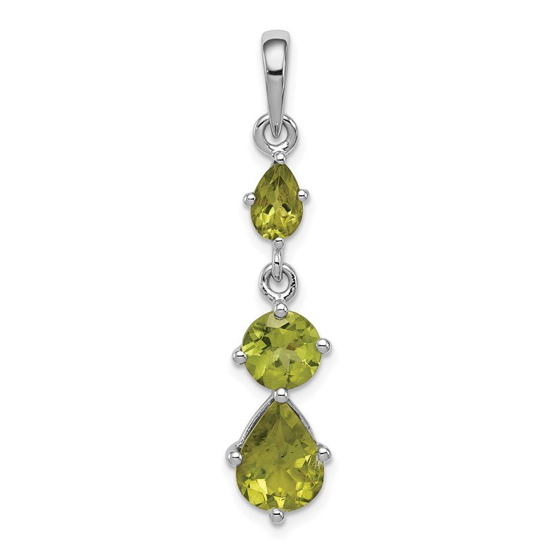J.F. Kruse Signature Collection Sterling Silver Rhodium-plated Peridot Pendant