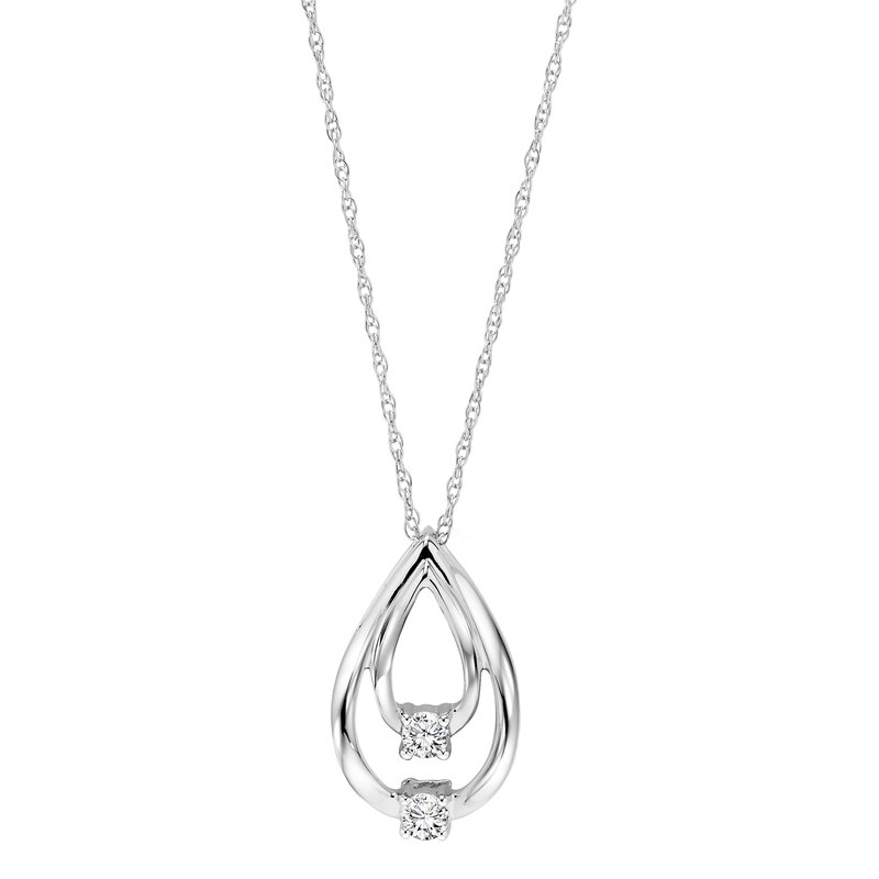 Twogether 10K Diamond Two Stone Pendant 1/10 ctw