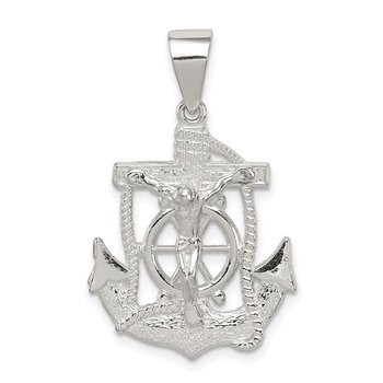 Sterling Silver Polished Mini Mariner INRI Crucifix Pendant