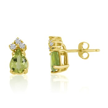 14k Yellow Gold 7X5 Pear Peridot and Diamond Earrings