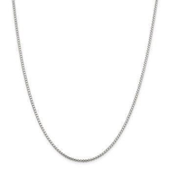 Sterling Silver 2mm Diamond-cut Round Box Chain