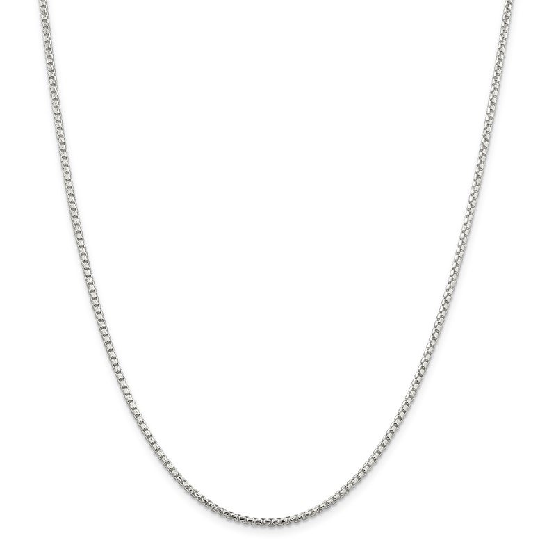Quality Gold Sterling Silver 2mm Diamond-cut Round Box Chain
