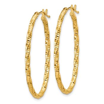 14ky 2mm Diamond-cut Oval Hoop Earrings