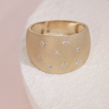 Sleeping Under The Stars Matte Gold Ring