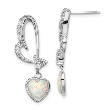 Sterling Silver Rhodium plated Created Opal and CZ Heart Earrings