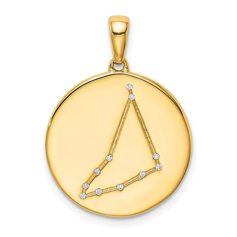 Arizona Diamond Center Collection Sterling Silver Gold-plated & CZ Capricorn Zodiac Pendant