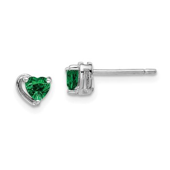 Sterling Silver Rhod-plated Created Emerald Heart Post Earrings