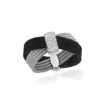 Black & Grey Cable Bow Ring with 18kt White Gold & Diamonds