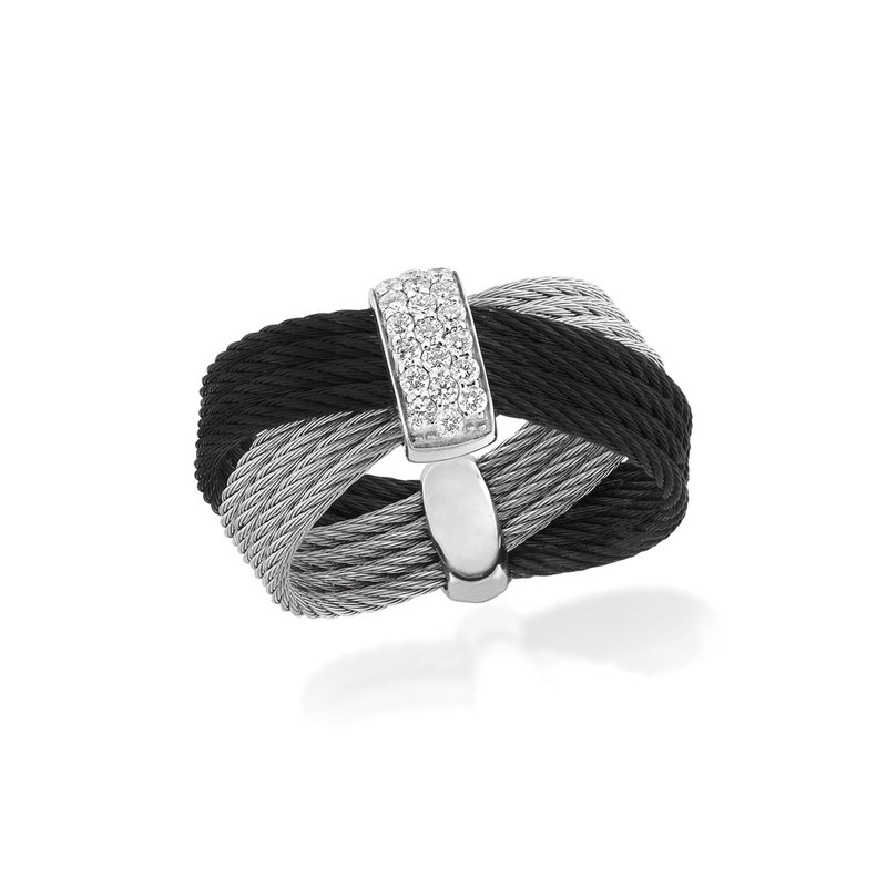 ALOR Black & Grey Cable Bow Ring with 18kt White Gold & Diamonds