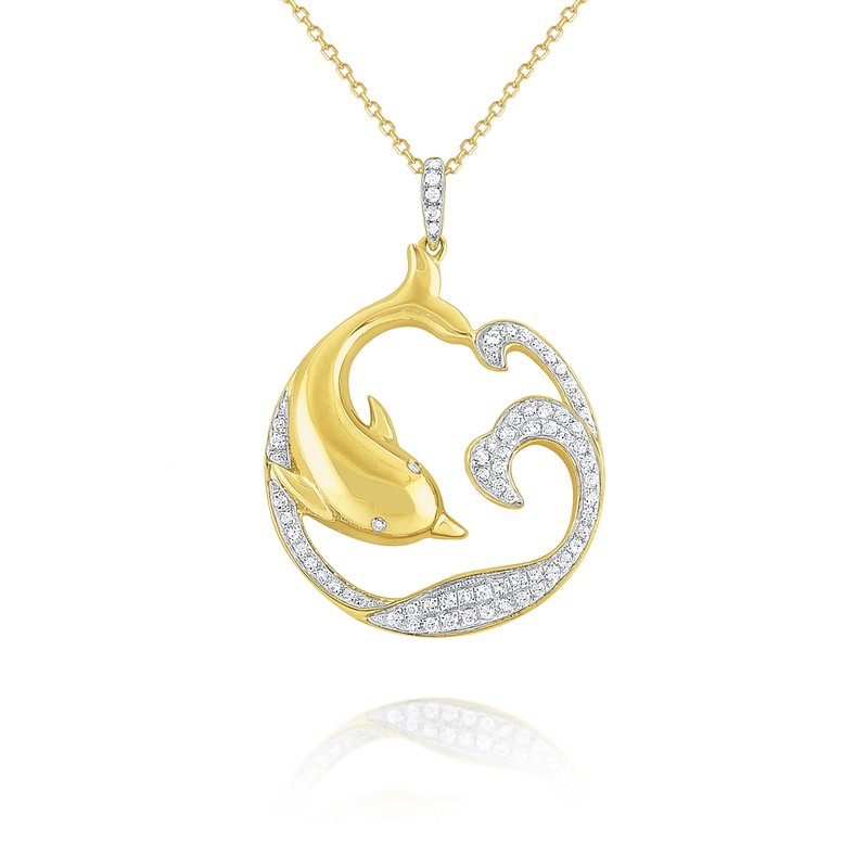 KC Designs 14k Gold and Diamond Dolphin Necklace