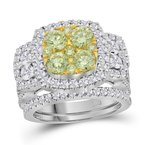 Kingdom Treasures 14kt White Gold Womens Round Yellow Diamond Bridal Wedding Engagement Ring Band Set 3.00 Cttw