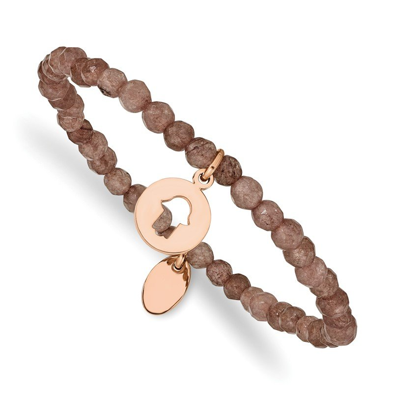 Chisel Stainless Steel Polished Rose IP Hamsa Brown Jade Stretch Bracelet