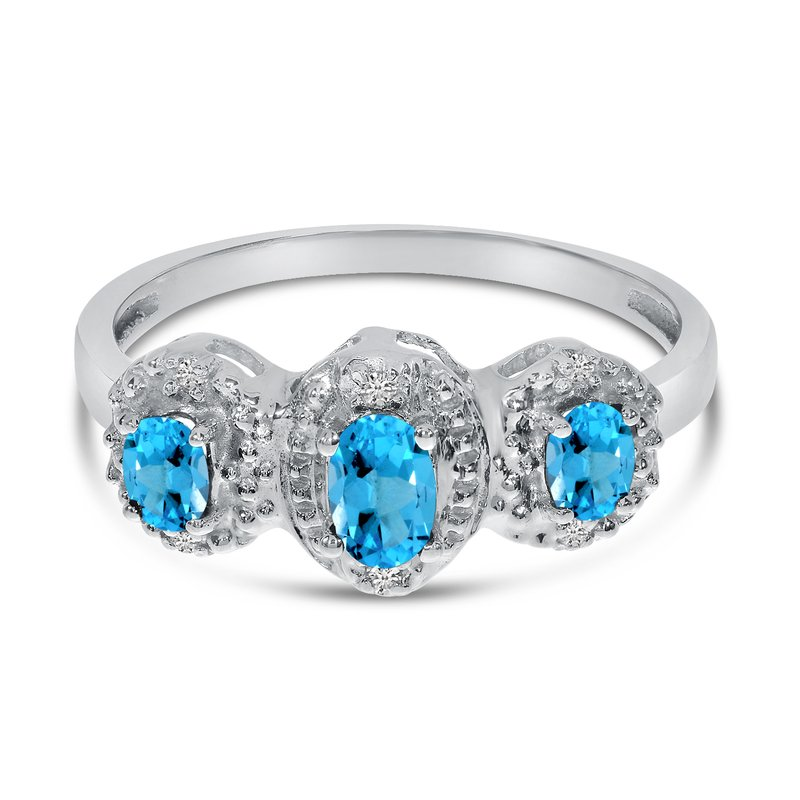 Color Merchants 10k White Gold Oval Blue Topaz And Diamond Three Stone Ring