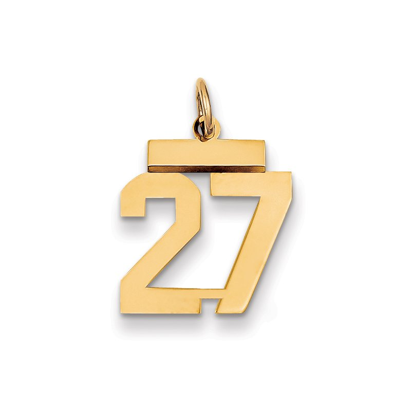 Quality Gold 14k Small Polished Number 27 Charm