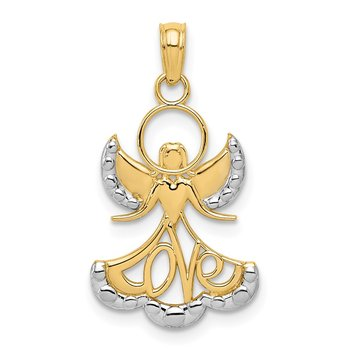 14K w/Rhodium LOVE Angel Pendant