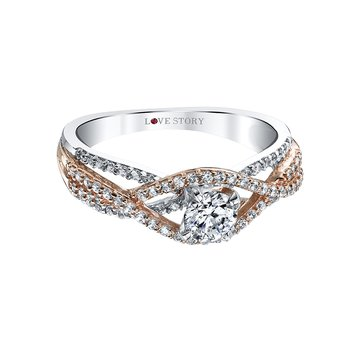 Two Toned Diamond Engagement Ring by Love Story