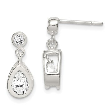 Sterling Silver Pear CZ Earrings