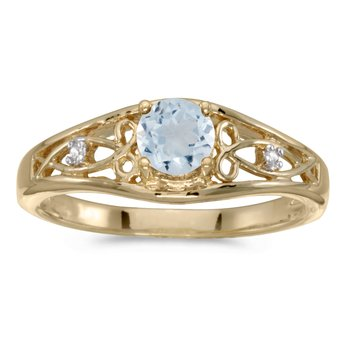 14k Yellow Gold Round Aquamarine And Diamond Ring