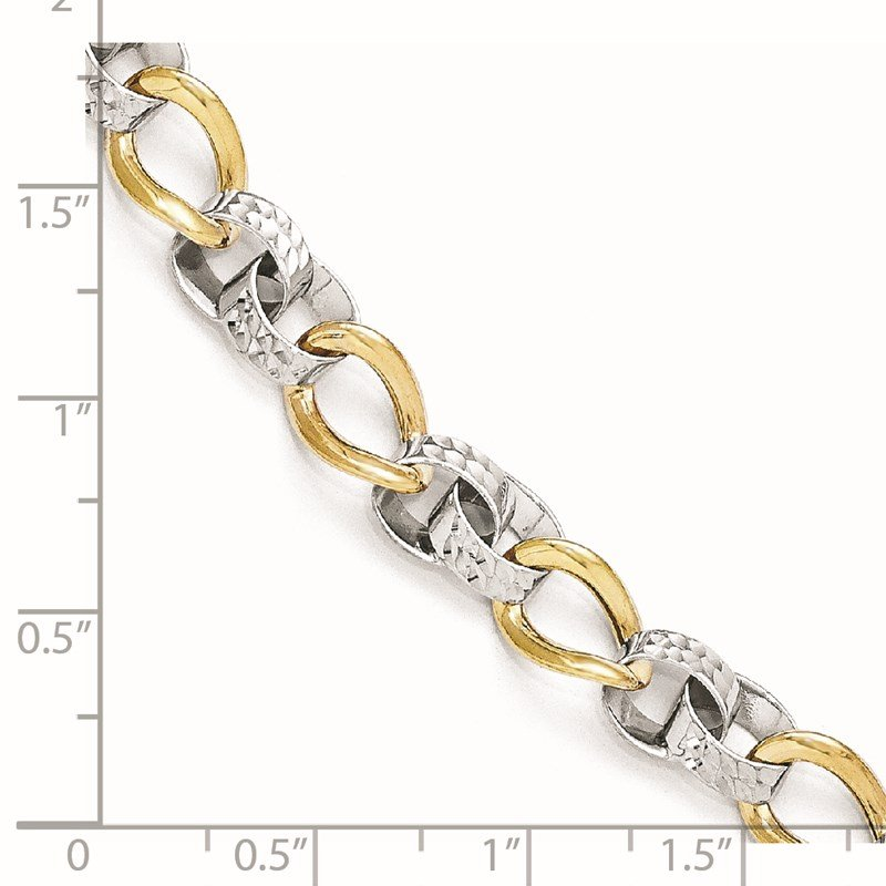 Leslie's Leslie's 10K Two-tone Polished and D/C Link Bracelet