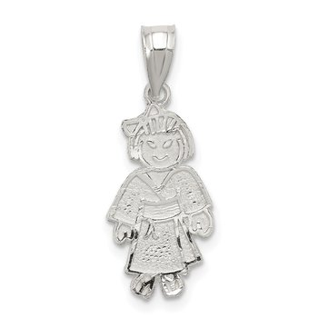 Sterling Silver Girl Martial Arts Charm