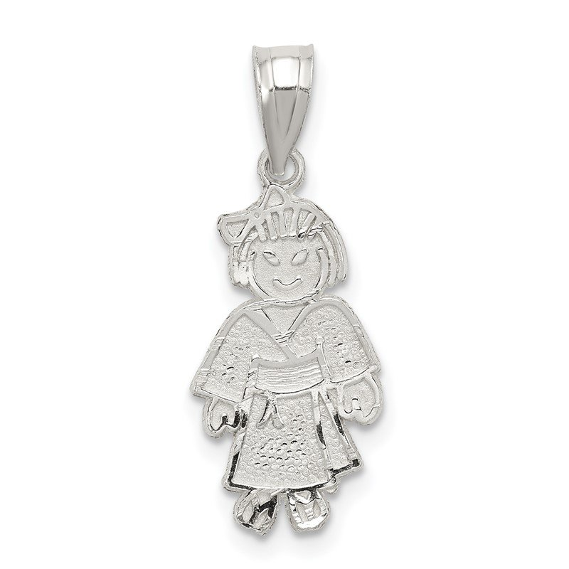 Quality Gold Sterling Silver Girl Martial Arts Charm