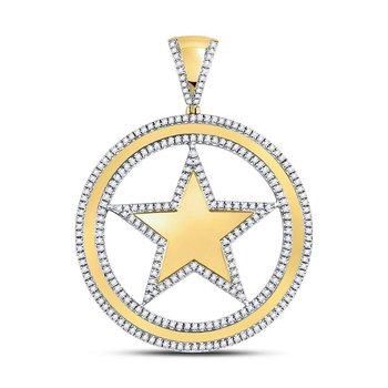 10kt Yellow Gold Mens Round Diamond Circle Star Charm Pendant 1.00 Cttw