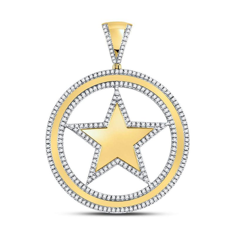 Kingdom Treasures 10kt Yellow Gold Mens Round Diamond Circle Star Charm Pendant 1.00 Cttw