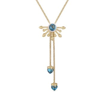 LuvMyJewelry Golden Rays Turquoise & Diamond Necklace in Sterling Silver & 14 KT Yellow Gold Plating