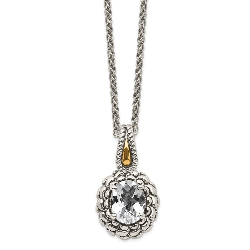 Shey Couture Sterling Silver w/ 14k Polished White Topaz Pendant