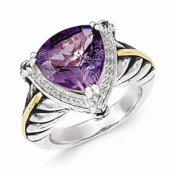 Sterling Silver w/14k Amethyst and Diamond Ring