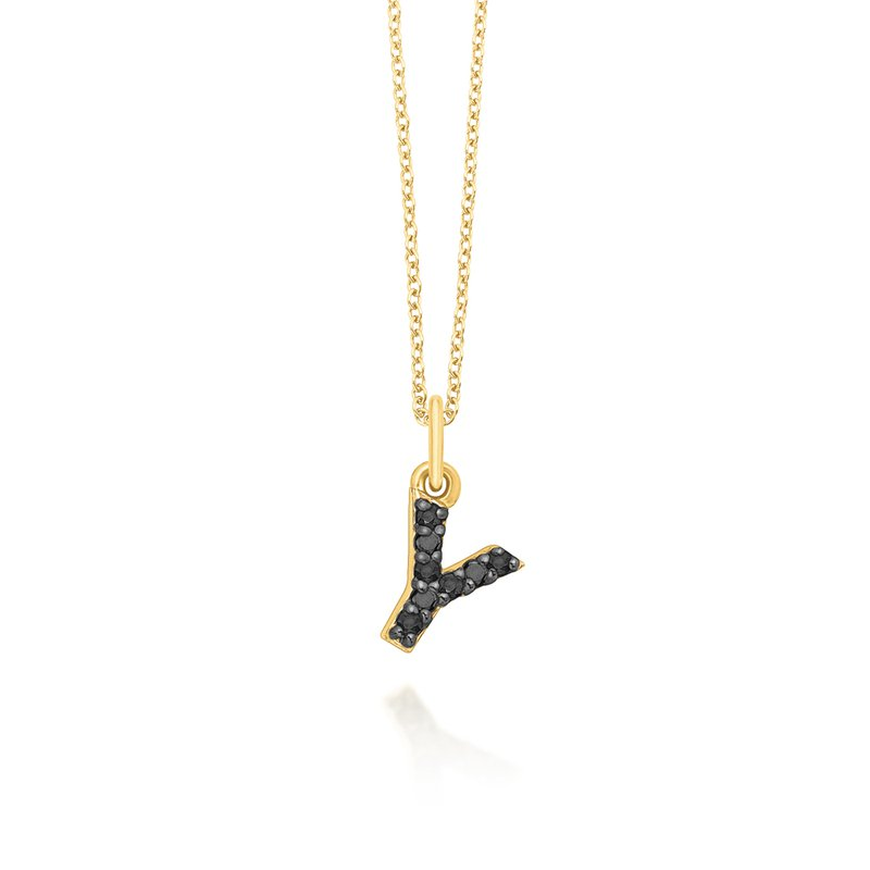 "KC Designs Black Diamond Baby Block Initial ""Y"" Necklace"