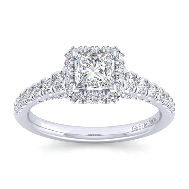 Gabriel Bridal 14K White Gold Princess Halo Diamond Engagement Ring