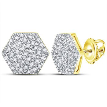 10kt Yellow Gold Mens Round Diamond Hexagon Cluster Stud Earrings 1/5 Cttw