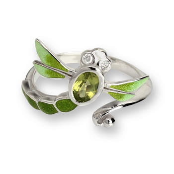 Sterling Silver Dragonfly Ring-Green. Diamonds and Peridot.