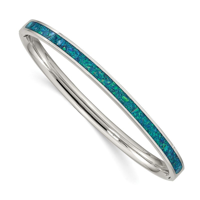 Chisel Stainless Steel Polished w/Imitation Opal 4.75mm Hinged Bangle