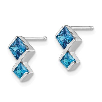 Sterling Silver Polished Blue Topaz Pendant and Post Earrings Set