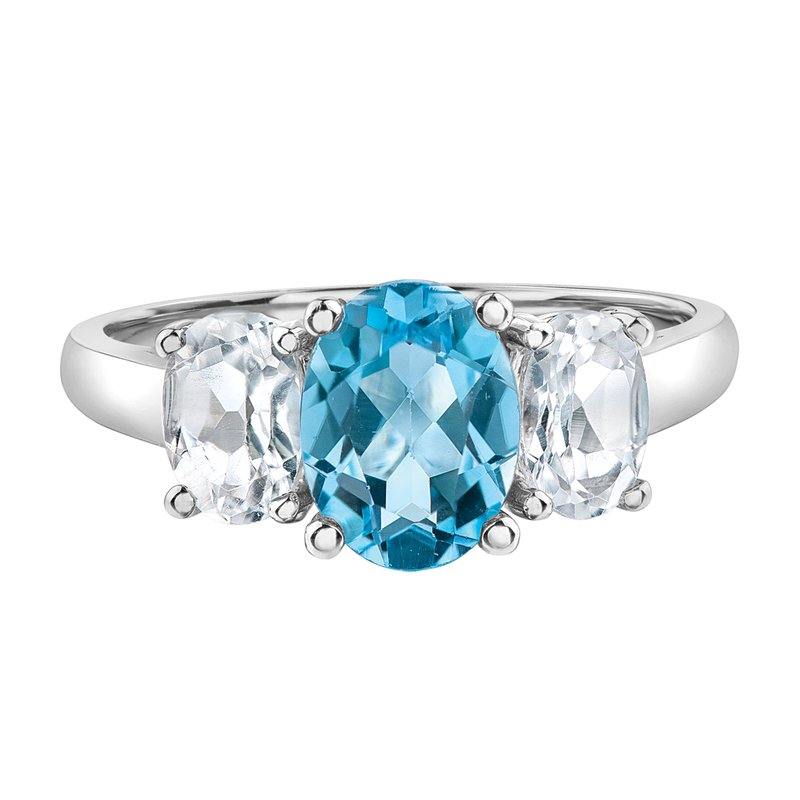 Timeless Beauty Blue Topaz Ladies Three Stone Ring