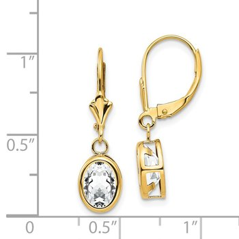 14k 8x6mm Oval Cubic Zirconia Leverback Earrings
