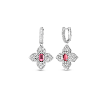 18K Diamond & Rubellite Flower Drop Earrings