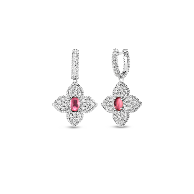 Roberto Coin 18K Diamond & Rubellite Flower Drop Earrings