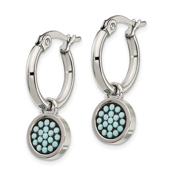 Stainless Steel Polished w/Preciosa Crystal Circle Dangle Hoop Earrings