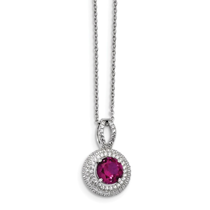 Quality Gold Sterling Silver Brilliant Embers Rhodium-plated CZ Circle Necklace